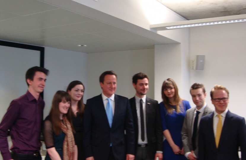 Mr Cameron with Ben Gummer and team