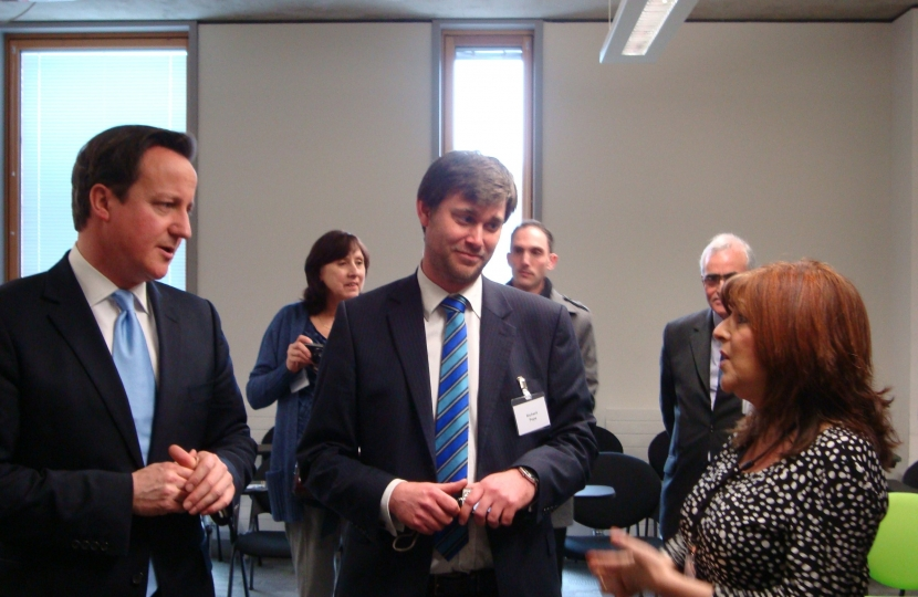 Mr Cameron with Cllrs Pope and Cenci